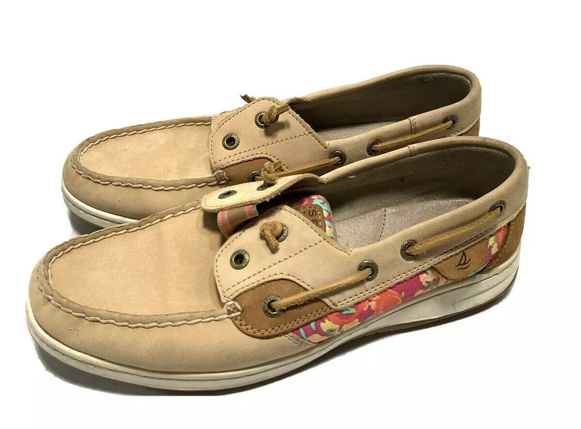 Sperry Top-Sider Angelfish Boat Shoes Loafers Leather Brown Floral Accent 8.5M