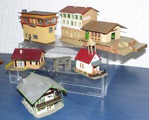 5-tlg-Gebaeude-Konvolut-hpsl-Faller-alt-Bahnhof-St-Urban-Stellwerk-Pension-H0