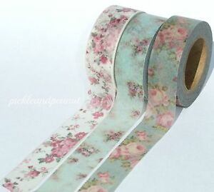 Washi-Tape-Paper-Floral-Vintage-Flowers-Shabby-Chic-Roses-Decorative-15mmx10m
