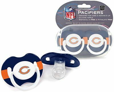 Chicago Bears Logo Baby Pacifier in Teams Colors (2 pack) NFL Licensed