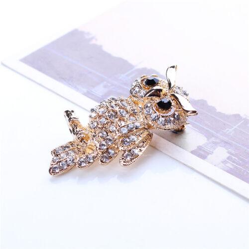 Fashion Gold Plated Owl Shiny Crystal Lady Jewelry Rhinestone Brooches