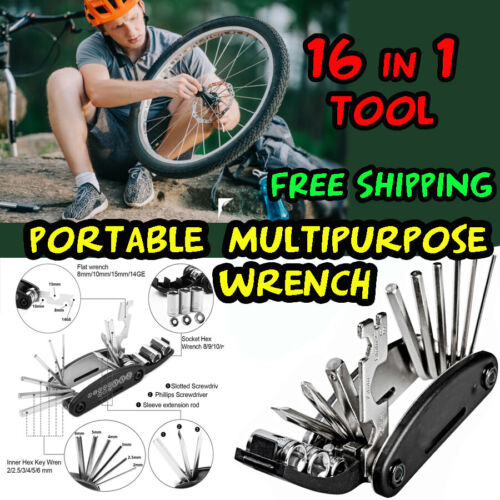 16 in 1 Multipurpose Tool Wrench Screw driver Portable Mountain bicycle Allenkey