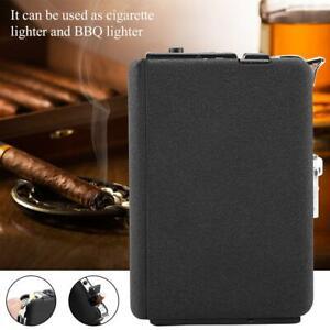 Automatic-Flame-Oil-Windproof-Lighter-w-Metal-Cigarette-Case-Holder-Dispenser
