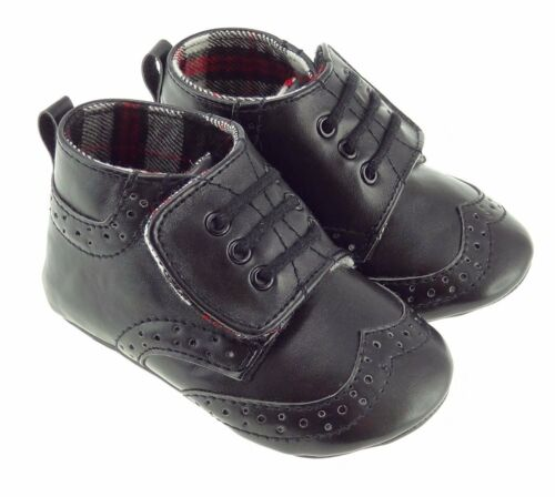 Baby Boys Black Soft Ghilie Brogues Tartan Lined Inside 0-24 Months BT1571