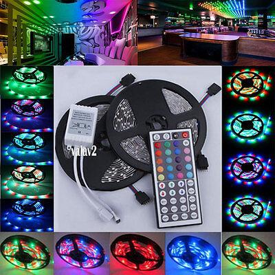 10M 3528 SMD 600LEDs RGB 2x5M Non/Waterproof Light Strip 44 Key Remote DC 12V
