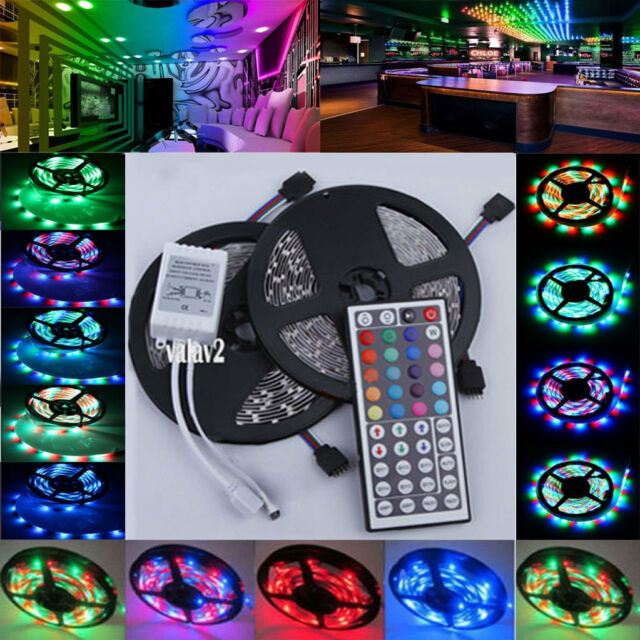 10M 3528 SMD 600LEDs RGB 2x5M Non/Waterproof Light Strip 44 Key Remote DC 12V
