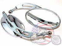 Chrome Billet Oval Mirror Set Pair Custom Cateye Mirrors Slotted Arm Harley