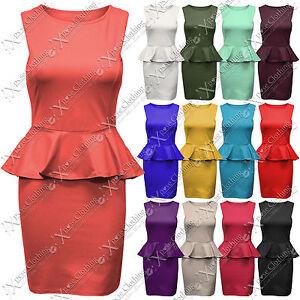 WOMEN-LADIES-SLEEVELESS-PEPLUM-SMART-FRILL-DRESS-BODYCON-DRESSES-SKIRT-TAYLORED