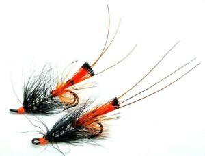 Black Kicker Shrimps Classic Salmon Fly Fishing  Flies on Mustad Double Hooks