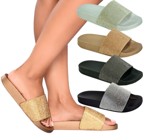 Ladies Womens Summer Sparkly Diamante Rubber Slip On Sliders Mules Sandals Shoes
