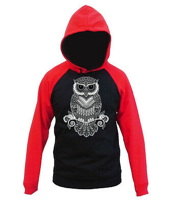 Men/'s Black /& White Night Owl Red Raglan Hoodie Geometric Tribal Design Sweater