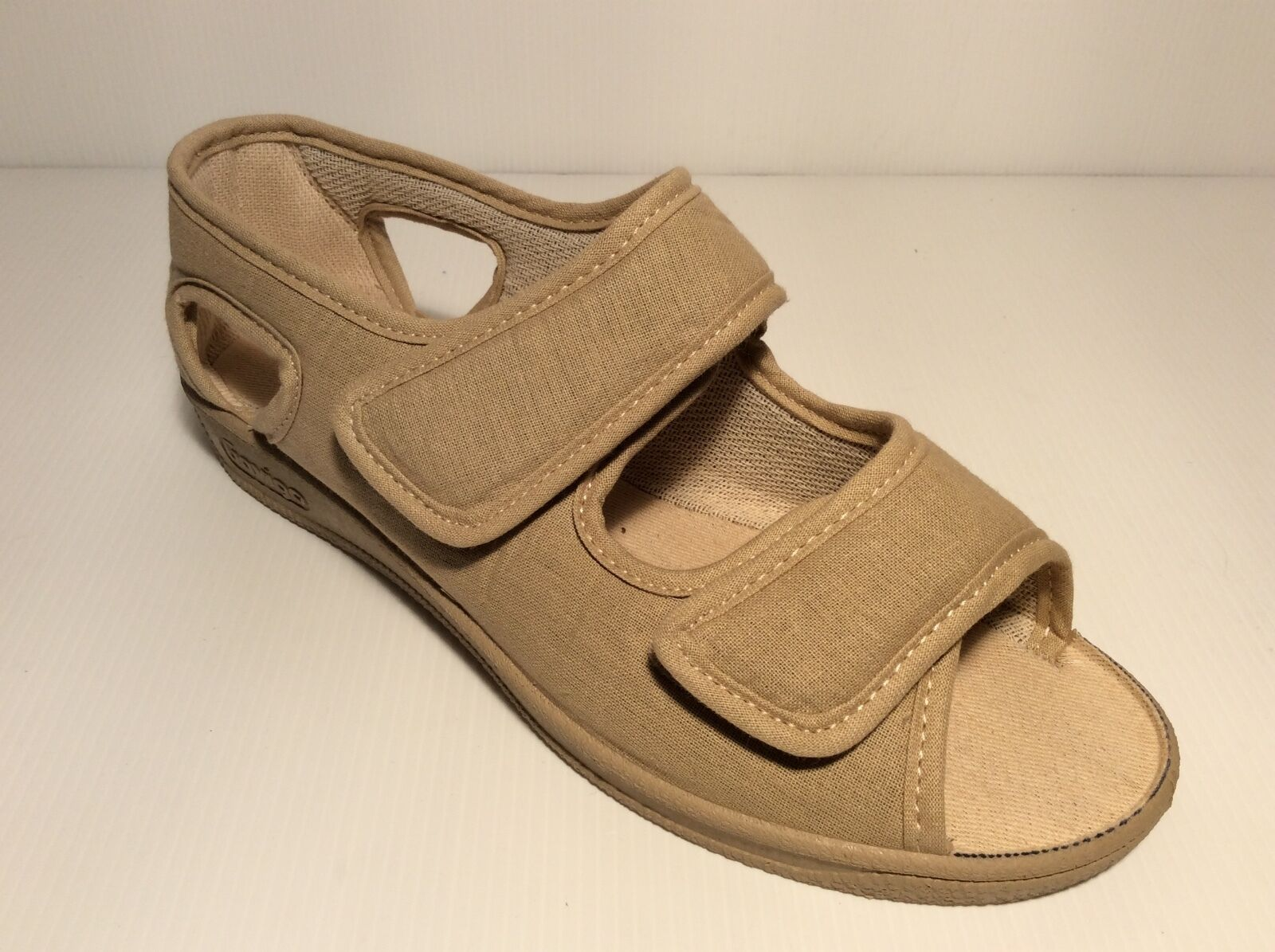 GAVIGA FALCO 180 pantofola sandalo DONNA tessuto gomma velcri comoda  col beige