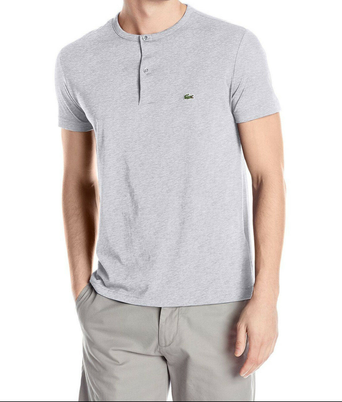 NEW Lacoste T-Shirt grau Henley Shirt 100% Cotton Buttoned Tee Lacoste Th3948