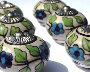 SéRieux Écru Vieilli Rond William Morris Fleurs Bleues (chrome) Tirer Choix De 2/4/6/8