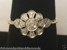 10k Yellow Gold Flower Vintage Antique Promise Fashion Right Hand Diamonds Ring