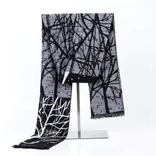 Mens Cashmere Wolle Schal Winter warme weiche Fringe Quaste langen Schal