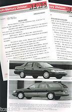 1991 Mercury SABLE Press Kit Photo, Specifications for?Brochure, '91 Merc
