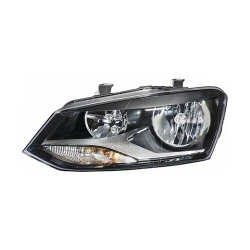 Headlight right black twin reflector VW Polo 09-13