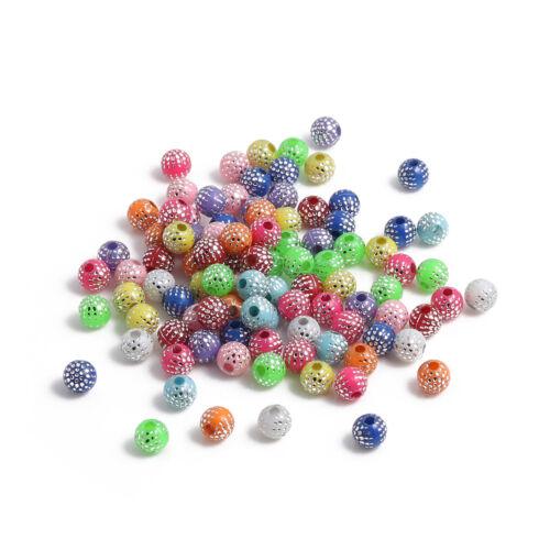300 accrocheur coloré perles avec SILVER Dots 6 mm en taille