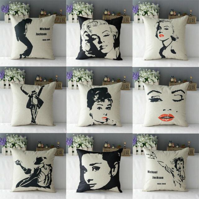 Marilyn Monroe Audrey Hepburn Decor Cotton Linen Cushion Cover Pillow Case New