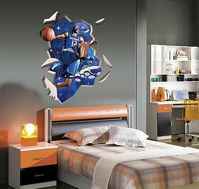 Basketball Star 3D Image Home Room Decor Removable Wall Sticker Decal Decoration
