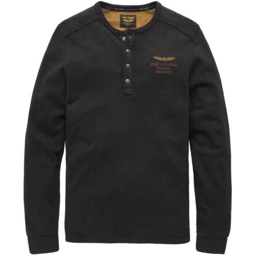 PME Legend Rundhals Langarm Shirt mit Knopfleiste