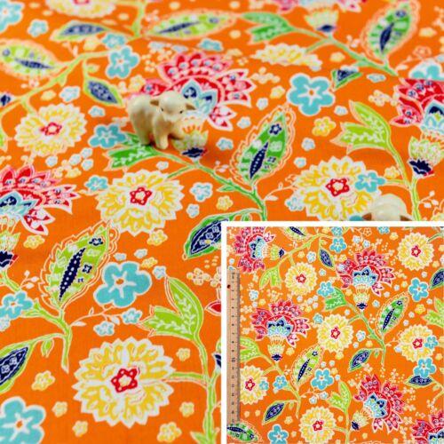 Cuarto gordo Naranja//MetroTela De Algodón FQ tejido Sew Craft Brillante Floral Hoja