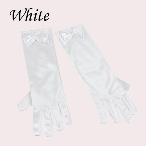Children Girl Princess Wedding Formal Evening Party Satin Fancy Dress Up Gloves