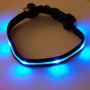Nylon-Seguro-Collar-Con-LED-Azul-Intermitente-Luz-Para-Perro-Mascota-Dog-New