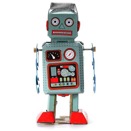 Vintage mechanische Uhrwerk Wind Up Metall Walking Radar Roboter Zinn toy  ei