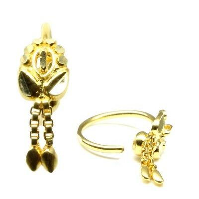 Indian Nose Ring Gold Tone Nose Pin Ethnic Cz Dangle Nose Hoop