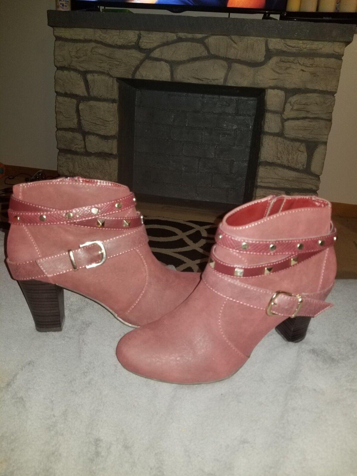 Jennifer Lopez Women's Erykah Studded Marsala Ankle Boots - Size 8.5 Med