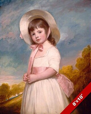 GIRL YOUNG CHILD IN WHITE DRESS & HAT WITH PINK PAINTING ART REAL CANVAS PRINT