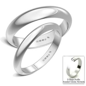 New-Argentium-Silver-Solid-D-Shaped-UK-Hallmarked-Wedding-Rings-Band