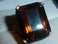 BEAUTIFUL 10K SOLID YELLOW GOLD SMOKEY QUARTZ RING - SIZE 4 3/4