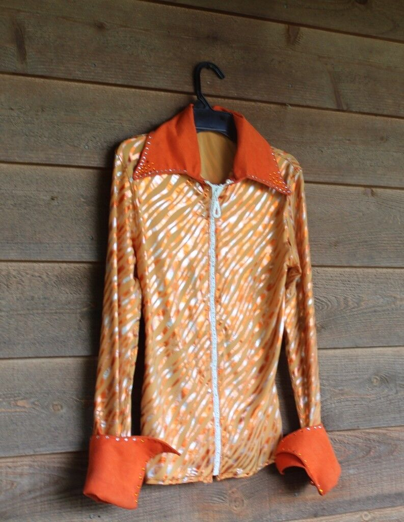 SUPER COOL orange zebra w/rhinestones show, rail shirt womens small