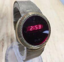 Vintage Gruen Mens Gold Tone Mesh Steel RED LED Digital Watch Hours~New Battery