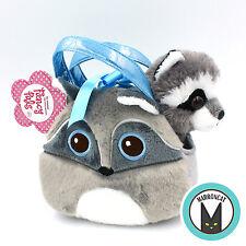 Aurora World Fancy Pals Bright eyes Raccoon Pet Carrier Girls Plush Handbag Toy