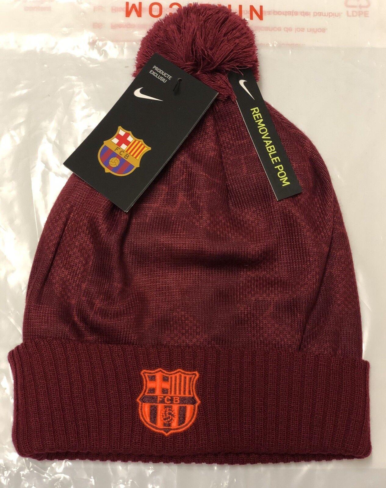 NIKE FC BARCELLONA Inverno Cappello Beanie con POM rimovibile Etichette  Nuovo di zecca con  25f47a903ee0