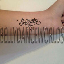 1 SET OF 3 BREATHE SCRIPT CALLIGRAPHY INSPIRATIONAL BODY TEMPORARY TATTOO QUOTE