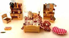 Sylvanian Families Sister's Bedroom SET Furniture + Dog Baby Figure Vintage Toys