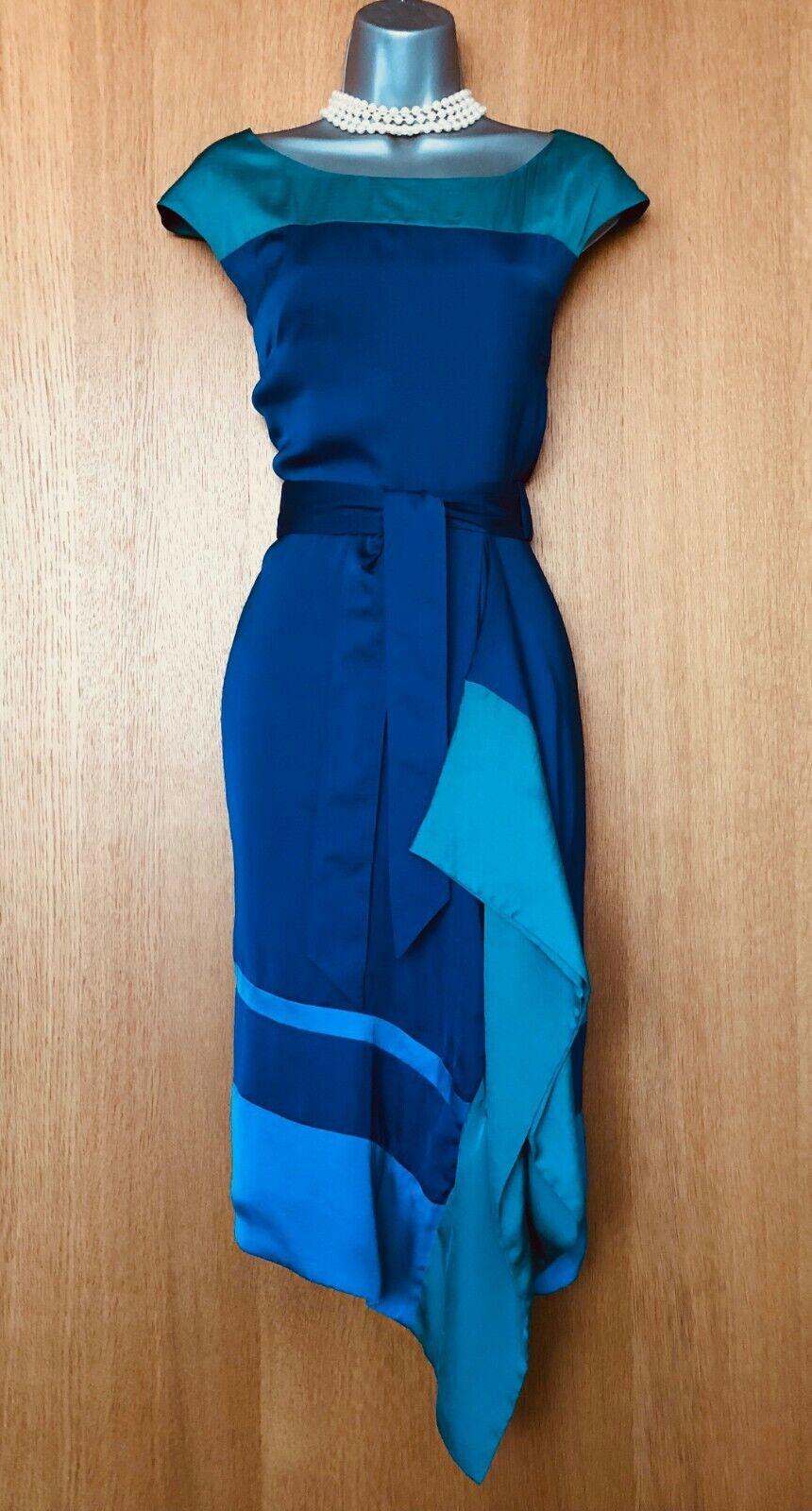 Karen Millen Green bluee Side Detail Belted Shift Formal Casual Dress