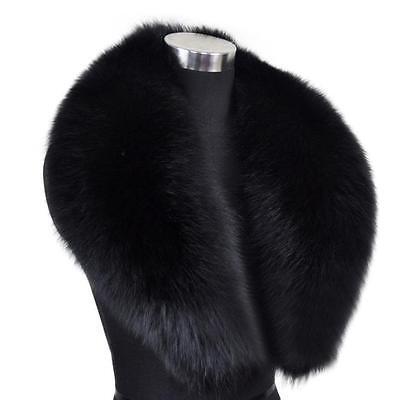 Vogue Design Warm Real Genuine Farm Fox Fur Collar Wrap Scarf Shawl Black Wide