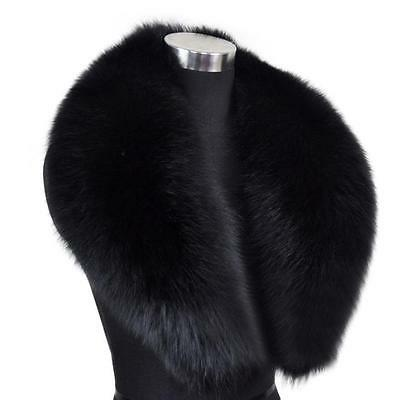 Xmas Sale Real Fox Fur Collar Scarves Shawls Stole Winter Warm Black Free Ship
