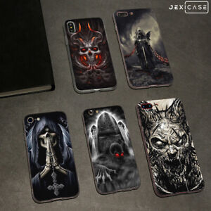 Horror-Skull-White-Silicone-Phone-Case-Cover-For-iPhone-Xs-Mas-XR-6-7-8-Samsung