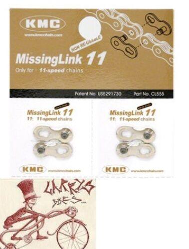 pack de 2 KMC MISSING LINK 11 Vitesse Vélo SHIMANO-KMC Chaîne Liens
