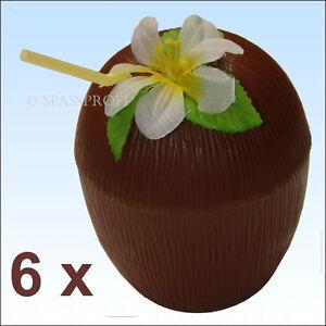 6-Kokosnussbecher-mit-Strohhalm-Hawaiibluete-Becher-Gartenparty-Kokosnuesse