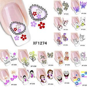 Moda-DIY-adesivo-ad-acqua-3D-CARTONI-ANIMATI-decalcomanie-nail-art-manicure