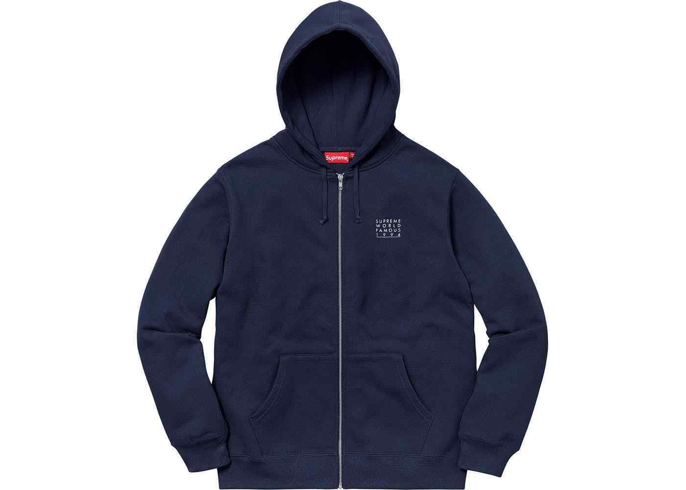 NEW Supreme World Famous Authentic Zip Up Hooded Sweatshirt Navy SS18 Größe M