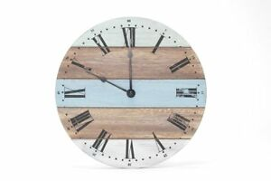 Wall-Clock-from-Wood-28cm-Wooden-Watch-Blue-White-Green-Natural-Shabby-Maritime